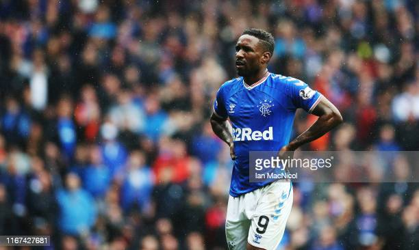 Jermain Defoe of Rangers is seen during the Ladbrokes Premiership match between Rangers and Hibernian at Ibrox Stadium on August 11 2019 in Glasgow...