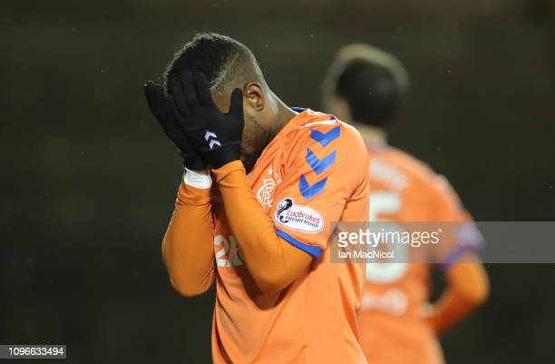 Jermain Defoe of Rangers reacts during the Scottish Cup 5th Round match between Kilmarnock and Rangers at Rugby Park on February 9 2019 in Kilmarnock...