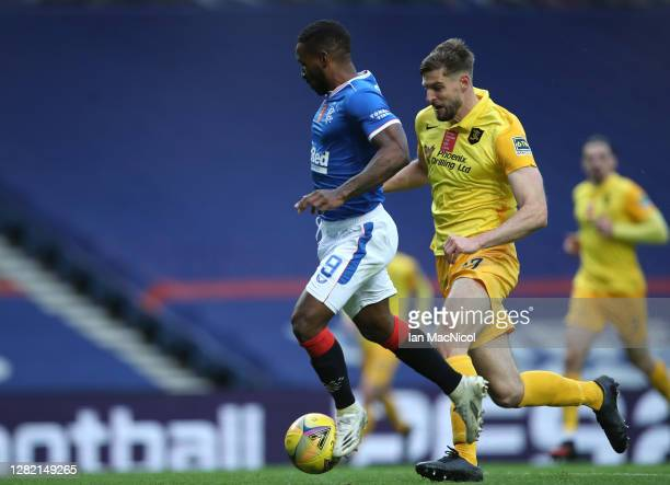 Jermain Defoe of Rangers scores his sides second goal during the Ladbrokes Scottish Premiership match between Rangers and Livingston at Ibrox Stadium...