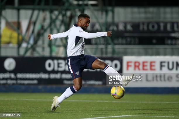 Jermain Defoe of Rangers scores their team's first goal during the Betfred Cup match between Falkirk and Rangers FC at Falkirk Community Stadium on...