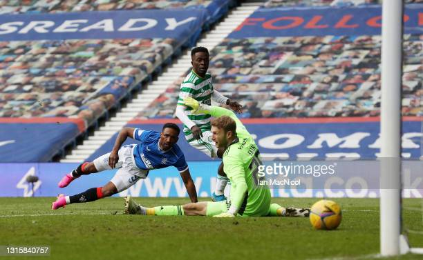 Jermain Defoe of Rangers scores their team's fourth goal during the Ladbrokes Scottish Premiership match between Rangers and Celtic at Ibrox Stadium...