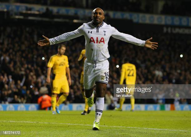 Jermain Defoe of Spurs celebrates scoring their second goal from the penalty spot during the UEFA Europa League Group K match between Tottenham...
