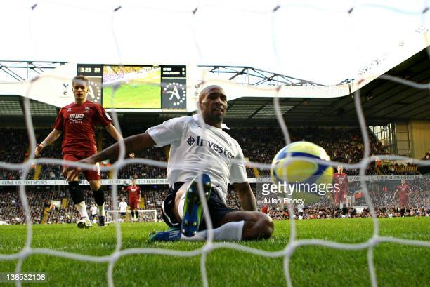 Jermain Defoe of Spurs scores the opening goal during the FA Cup Third Rund match between Tottenham Hotspur and Cheltenham Town at White Hart Lane on...
