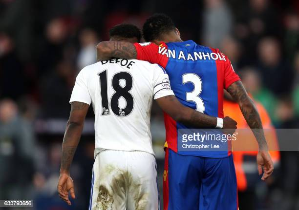 Jermain Defoe of Sunderland and Patrick van Aanholt of Crystal Palace speak after the game during the Premier League match between Crystal Palace and...