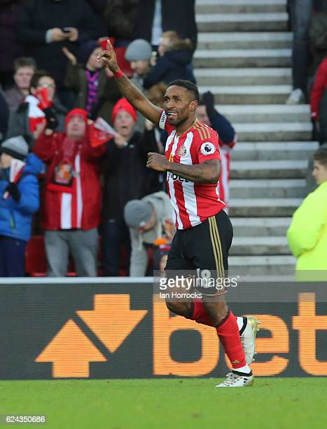 Jermain Defoe of Sunderland celebrates after he scored the opening goal during the Premier League match between Sunderland and Hull City at Stadium...