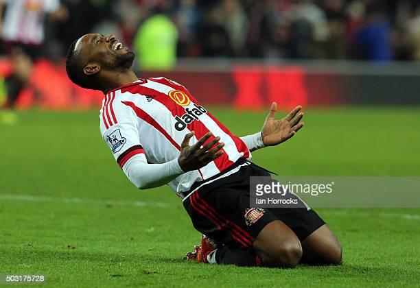 Jermain Defoe of Sunderland celebrates after he scores the third Sunderland goal during the Barclays Premier League match between Sunderland and...