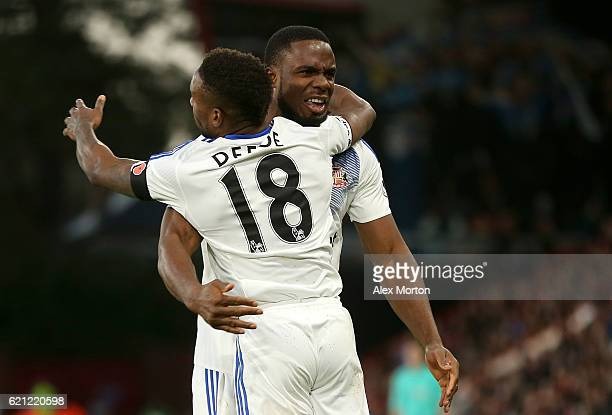 Jermain Defoe of Sunderland celebrates scoring his sides second goal with Victor Anichebe of Sunderland during the Premier League match between AFC...