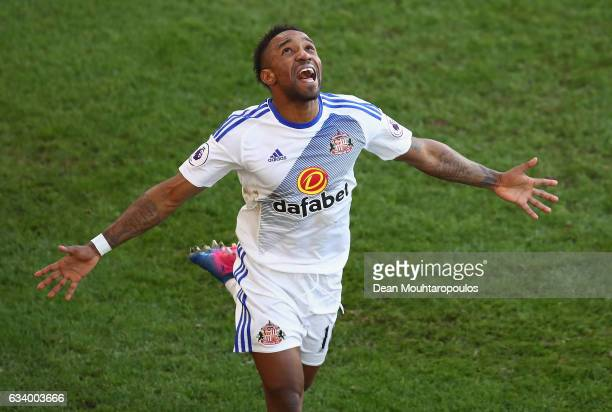 Jermain Defoe of Sunderland celebrates scoring his sides third goal during the Premier League match between Crystal Palace and Sunderland at Selhurst...