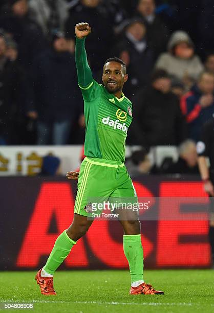 Jermain Defoe of Sunderland celebrates scoring his team's third goal during the Barclays Premier League match between Swansea City and Sunderland at...