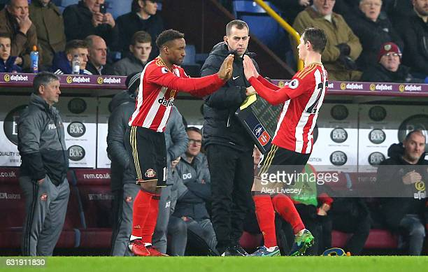 Jermain Defoe of Sunderland comes on for Donald Love of Sunderland during the Emirates FA Cup third round replay between Burnley and Sunderland at...
