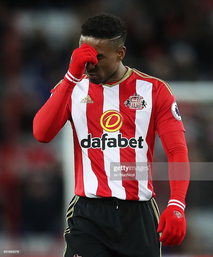 Jermain Defoe of Sunderland is seen during the Premier League match between Sunderland and Stoke City at Stadium of Light on January 14, 2017 in Sunderland, England.