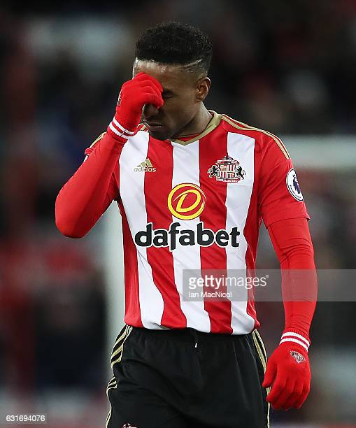 Jermain Defoe of Sunderland is seen during the Premier League match between Sunderland and Stoke City at Stadium of Light on January 14 2017 in...
