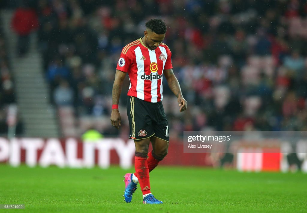 Jermain Defoe of Sunderland reacts during the Premier League match between Sunderland and Southampton at Stadium of Light on February 11, 2017 in Sunderland, England.