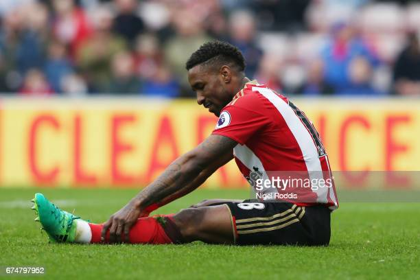 Jermain Defoe of Sunderland reacts during the Premier League match between Sunderland and AFC Bournemouth at the Stadium of Light on April 29 2017 in...