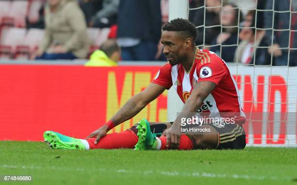 Jermain Defoe of Sunderland reacts during the Premier League match between Sunderland AFC and AFC Bournemouth at Stadium of Light on April 29 2017 in...