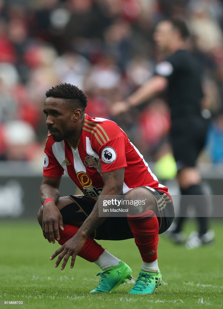 Jermain Defoe of Sunderland reacts during the Premier League match between Sunderland and Bournemouth at Stadium of Light on April 29, 2017 in Sunderland, England.