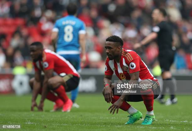 Jermain Defoe of Sunderland reacts during the Premier League match between Sunderland and Bournemouth at Stadium of Light on April 29, 2017 in...