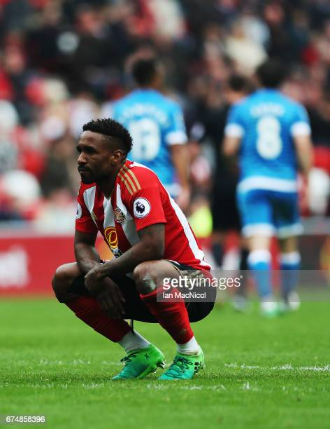 Jermain Defoe of Sunderland reacts during the Premier League match between Sunderland and Bournemouth at Stadium of Light on April 29 2017 in...