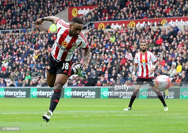 Jermain Defoe of Sunderland tries a back flip on goal during the Barclays Premier League match between Sunderland and West Bromwich Albion at the...