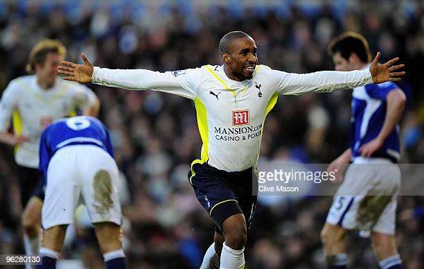 Jermain Defoe of Tottenham celebrates his goal during the Barclays Premier League match between Birmingham City and Tottenham Hotspur at St. Andrews...