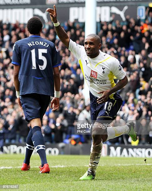 Jermain Defoe of Tottenham Hotspur celebrates scoring his opening goal during the Barclays Premier League match between Tottenham Hotspur and...