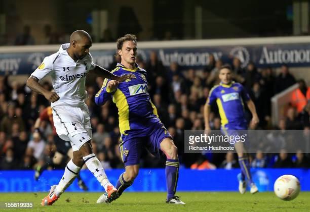 Jermain Defoe of Tottenham Hotspur scores their third goal for his hat trick during the UEFA Europa League group J match between Tottenham Hotspur FC...