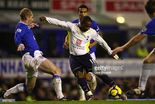 Jermain Defoe of Tottenham Hotspur shoots at goal during the Barclays Premier League match between Everton and Tottenham Hotspur at Goodison Park on...