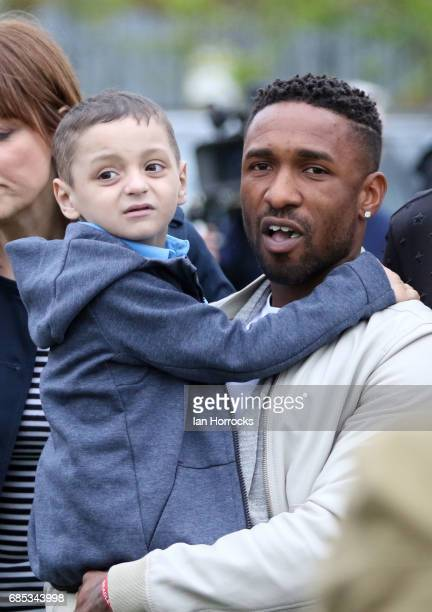 Jermain Defoe pictured with Bradley Lowery on his 6th birthday party at Welfare Park Blackhall on May 19 2017 in Peterlee England