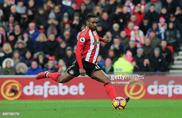 Jermain Defoe scores for Sunderland from the penalty spot to make the game during the Premier League match between Sunderland AFC and Liverpool FC at...