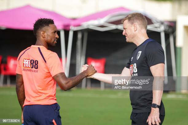 Jermain Defoe with Bournemouth manager Eddie Howe during training session at the clubs preseason training camp at La Manga Spain on July 12 2018 in...