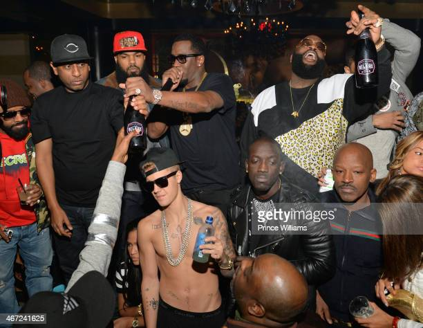 Jermain Dupri Alex Gidewon Satlley Sean 'Diddy' Combs Justin Bieber and Rick Ross attend Ciroc party at Vanquish Lounge on February 5 2014 in Atlanta...