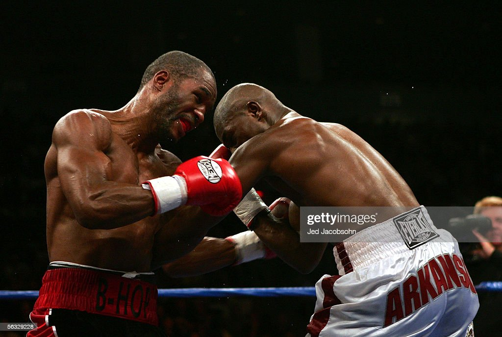 Jermain Taylor and Bernard Hopkins exchange blows at the undisputed world middleweight championship fight at the Mandalay Bay Resort and Casino Event Center in Las Vegas, Nevada. Taylor remained the undisputed champion after defeating Hopkins by unanimous decision.