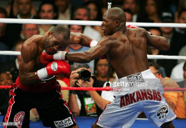 Jermain Taylor hits Bernard Hopkins under the chin at the undisputed world middleweight championship fight at the Mandalay Bay Events Center on...