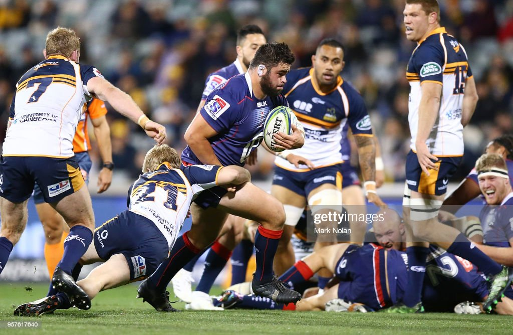 Jermaine Ainsley of the Rebels runs the ball during the round 12 Super Rugby match between the Brumbies and the Rebels at GIO Stadium on May 12, 2018 in Canberra, Australia.