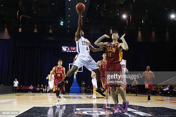 Jermaine Beal of the Brisbane Bullets shoots during the Australian Basketball Challenge match between Brisbane Bullets and Zhejiand Golden Bulls at...