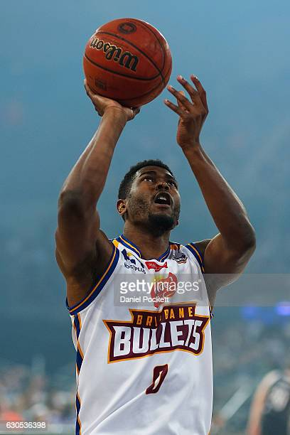 Jermaine Beal of the Brisbane Bullets warms up prior to the round 12 NBL match between Melbourne and Brisbane at Hisense Arena on December 26 2016 in...