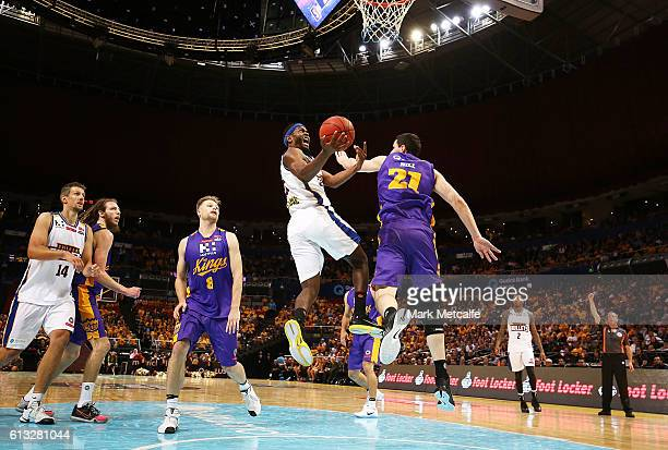 Jermaine Beal of the Bullets drives to the basket during the round one NBL match between the Sydney Kings and the Brisbane Bullets at Qudos Bank...