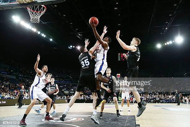 Jermaine Beal of the Bullets goes up against Alex Pledger of the Breakers during the round 10 NBL match between the New Zealand Breakers and the...