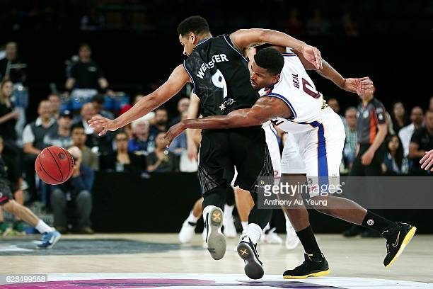 Jermaine Beal of the Bullets reaches in against Corey Webster of the Breakers during the round 10 NBL match between the New Zealand Breakers and the...