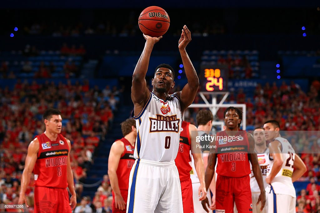 Jermaine Beal of the Bullets shoots a free throw during the round nine NBL match between the Perth Wildcats and the Brisbane Bullets at Perth Arena on December 1, 2016 in Perth, Australia.