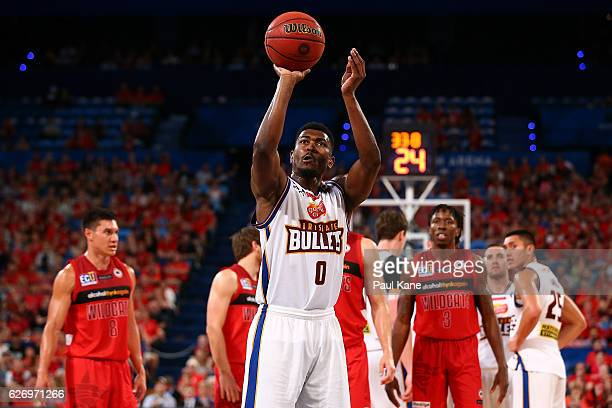 Jermaine Beal of the Bullets shoots a free throw during the round nine NBL match between the Perth Wildcats and the Brisbane Bullets at Perth Arena...