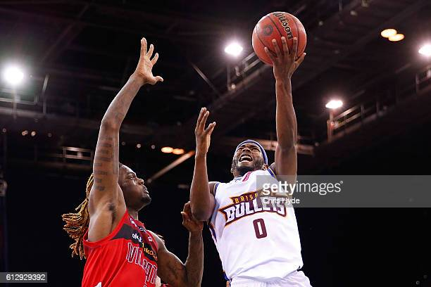 Jermaine Beal of the Bullets shoots during the round one NBL match between the Brisbane Bullets and the Perth Wildcats at the Brisbane Entertainment...