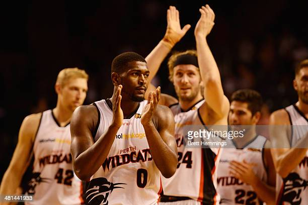 Jermaine Beal of the Wildcats acknowledges the crowd after the Wildcats win game two of the NBL Finals Series between the Wollongong Hawks and the...