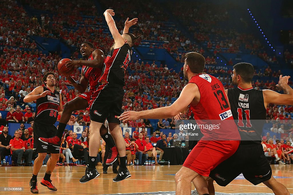 Jermaine Beal of the Wildcats drives to the basket during the NBL Semi Final match between Perth Wildcats and Illawarra Hawks at Perth Arena on February 26, 2016 in Perth, Australia.