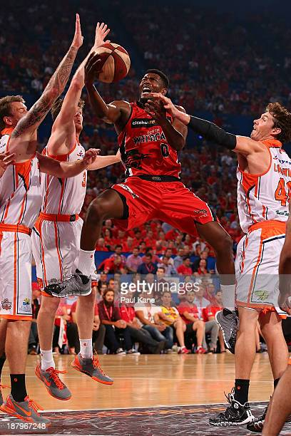 Jermaine Beal of the Wildcats drives to the basket during the round six NBL match between the Perth Wildcats and the Cairns Taipans at Perth Arena in...
