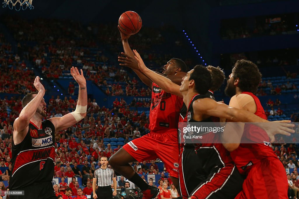 Jermaine Beal of the Wildcats lays up during the NBL Semi Final match between Perth Wildcats and Illawarra Hawks at Perth Arena on February 26, 2016 in Perth, Australia.