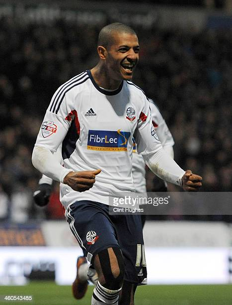 Jermaine Beckford of Bolton Wanderers celebrates after he scores the second goal of the game for his side during the Budweiser FA Cup Third Round...
