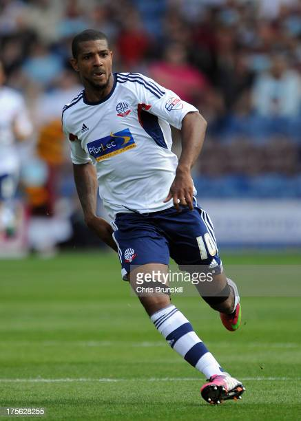 Jermaine Beckford of Bolton Wanderers in action during the Sky Bet Championship match between Burnley and Bolton Wanderers at Turf Moor on August 03...