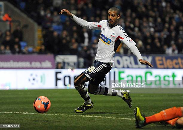 Jermaine Beckford of Bolton Wanderers scores the second goal of the game for his side during the Budweiser FA Cup Third Round match between Bolton...