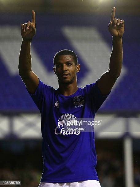 Jermaine Beckford of Everton celebrates after scoring the opening goal during the preseason friendly match between Everton and Everton Chile at...